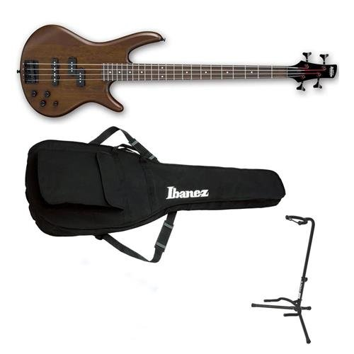 Ibanez GIO Series GSR200BWNF Electric Bass Guitar, Walnut Flat - Bundle With On-Stage XCG4 Classic Guitar Stand, Ibanez IBB101 Gig Bag Black (Ibanez Stand)