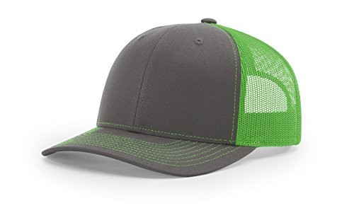 (Richardson 112 Mesh Back Trucker Cap Snapback Hat (Charcoal/Neon Green))