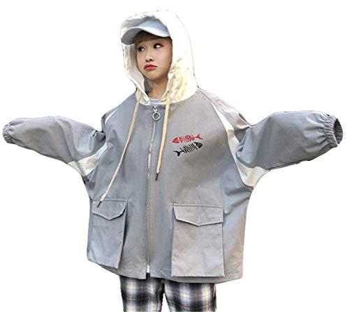 Con Giacche Tempo Ragazze Eleganti Battercake Harajuku Tasche Casuale Tendenza Stampate Lunghe Libero Giacca Grau Autunno Outerwear Incappucciato Cappuccio Maniche Donna Cappotto Primaverile Donne 8AZdgq