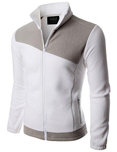 Doublju Mens Colleage NFL Basketball Comfort WHITELIGTHGRAY Light Weight Jacket,XL