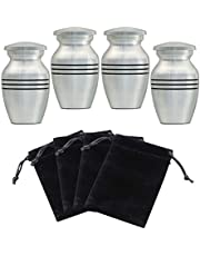 ICOKEE Small Keepsake Urns for Human Ashes or Pet Ashes, Set of 4, Hard Metal Cremation Urns, Mini Funeral Urns, with 4 Velvet Bags
