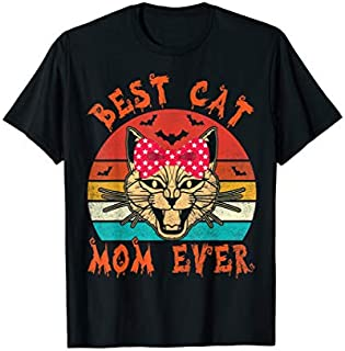 Crazy Cat Face Best Cat Mom Ever Vintage Retro Mother T-shirt | Size S - 5XL