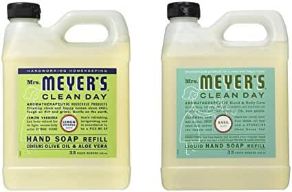 Mrs. Meyer's Liquid Hand Soap Refill, Lemon Verbena and Basil, 33 Fluid Ounce Variety Pack