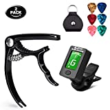 Olice Guitar Tuner and Guitar Capo Set, Clip-On Tuner Digital Electronic Tuner Acoustic