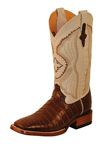 Ferrini Mens Belly Caiman Croc Sq Boots 9EE Prl ()