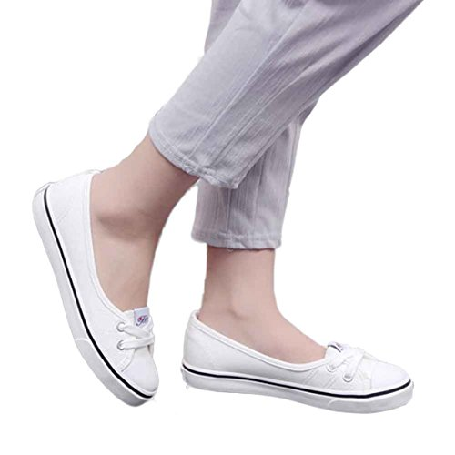AMA(TM) Women Canvas Loafers Flats Casual Breathable Flat Singal Shoes (39=8 US, White) (Tap Black White And Shoes Womens)