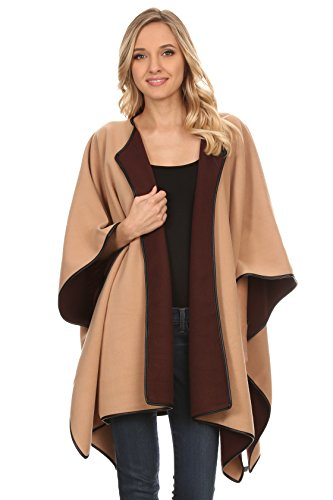 A+D Womens Reversible Wrap Shawl Poncho Cape W/ Hook Front (Camel/Brown, One Size)