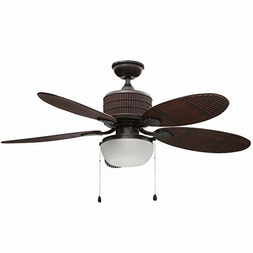 Home Decorators Collection Tahiti Breeze 52 in. LED Indoor/Outdoor Natural Iron Ceiling Fan with Mahogany Bamboo Accents