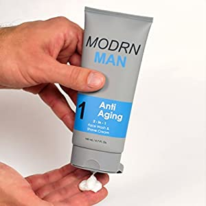 MODRN MAN Anti Aging System For Men, (1) World's 1st 2-in-1 Mens Daily Face Wash & Shaving Cream, (2) Premium 2-in-1 Mens Face Moisturizer & Sunscreen