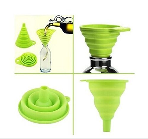 Drhob New Mini Silicone Gel Foldable Collapsible Style Funnel Hopper Kitchen Tool RY(Color: Random) (Color: Multicolor)