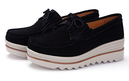 for Sneakers Comfortable 42 Black On Shoes Fashion 4 35 Wedges Women's Loafers Rainrop Women Suede Comfort Platform Suede Slip OqwCxft1H
