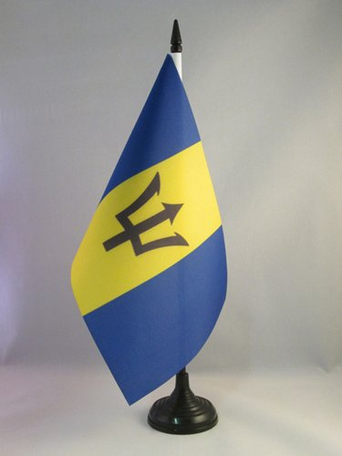 - AZ FLAG Barbados Table Flag 5'' x 8'' - Barbadian Desk Flag 21 x 14 cm - Black Plastic Stick and Base