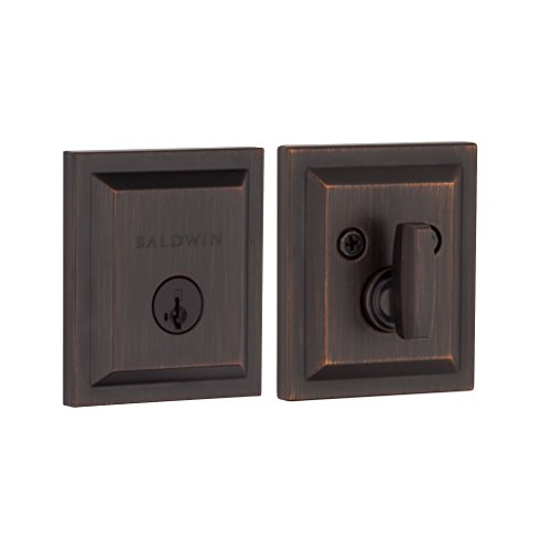 Baldwin Torrey Pines Single Cylinder Square Deadbolt for Front Door and Garage Door Featuring SmartKey Security in Venetian Bronze, Prestige Series with a Modern Contemporary Slim Design