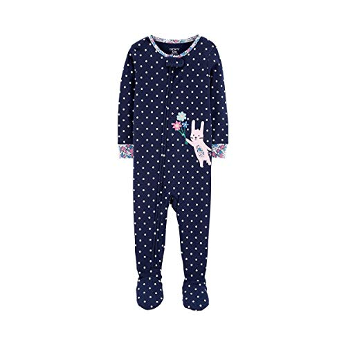 Baby Girl's Floral Spring Easter Bunny Polka Dot Pajama Sleeper (18 Months)