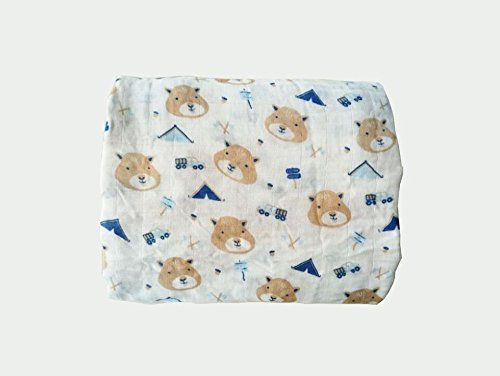 Miracle Baby Muslin Swaddle Blankets Large Bamboo Cotton Baby Swaddle Wrap Stroller Cover 47''x 47'' (Chipmunk)