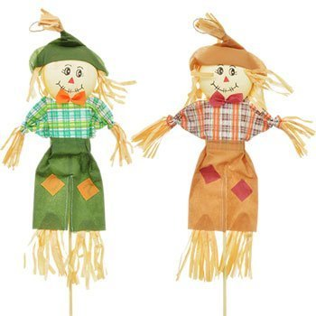 4 Count Autumn Fall Thanksgiving Scarecrow Stakes 28 in. Harvest Pumpkin Leaves Decorations