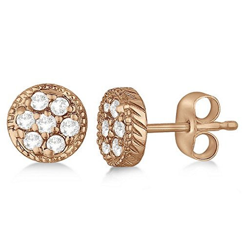 Antique Style Push Back Diamond Earrings Milgrain Edged 14k Rose Gold (0.30ct) ()