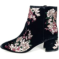 Uterque (Zara) Women Ankle boots with floral embroidery 5226/251 (41 EU | 10 US | 8 UK)