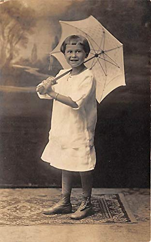 People and Children Photographed on Postcard, Old Vintage Antique Post Card Child with umbrella Unused