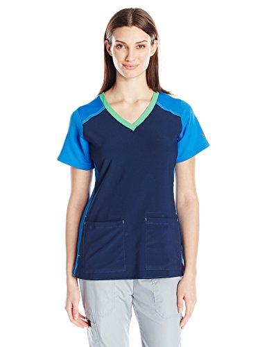 Carhartt Cross-Flex Women's Mulit Color Knit Mix V Neck Scrub Top, Navy X-Small