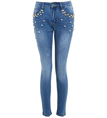 SS7 Femmes Denim Jeans Slim Perle Jean Plus Size 38-48 Nouveau Denim Bleu