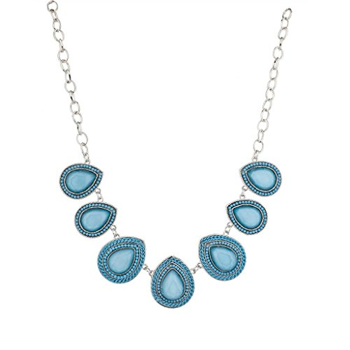 Lux Accessories Sky Blue and Silver Teardrop Shape Statement Necklace