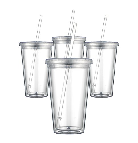 Maars Classic Insulated Tumblers 16 oz. | Double Wall Acrylic | 12 pack Clear Plastic Tumblers