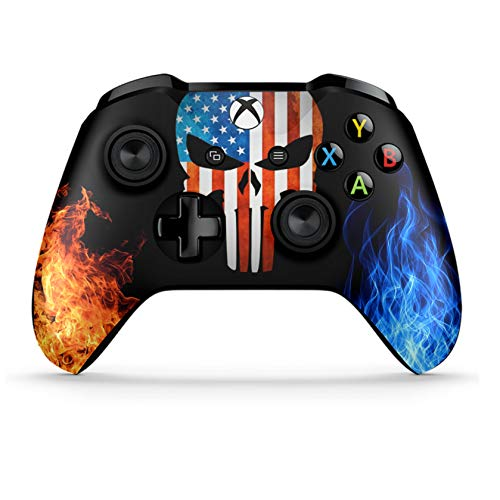 Xbox One S Wireless Controller Pro Console - Newest Xbox Controller Blue-Tooth with Soft Grip & Exclusive Customized Version Skin (Xbox-American Warrior Skull) (1 - Pack)