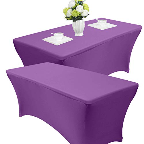 (Reliancer 2 Pack 4\6\8FT Rectangular Spandex Table Cover Four-Way Tight Fitted Stretch Tablecloth Table Cloth for Outdoor Party DJ Tradeshows Banquet Vendors Weddings Celebrations (6FT(2PC),Purple))