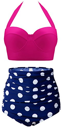 CHERRY CAT Pin-UP Polka Two Piece Swimsuit Beachwear Bathing Suits(Rose Red&Navy,5XL)