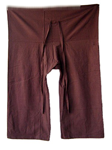Thai Style Clothing - Brown Yoga Massage Wrap Trousers Fisherman Pants Unique for Women & Men, Northern Thai Style