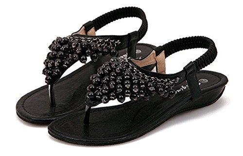 Confort avec Fortuning's Strap de Gracieux Cheville Élastique la Noir Sangle Perle T JDS® Sandales E0qCg6