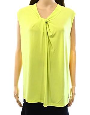 Calvin Klein Citrine Women's Plus Front Knot Tank Blouse Yellow 2X