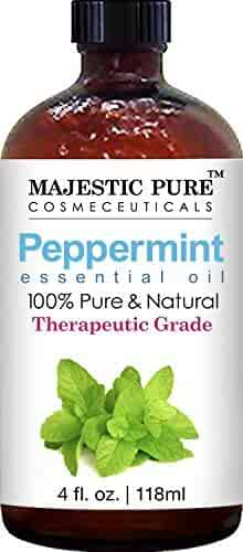 Majestic Pure Peppermint Essential Oil, 100% Pure and Natural with Therapeutic Grade, Premium Quality Peppermint Oil, 4 fl. oz.