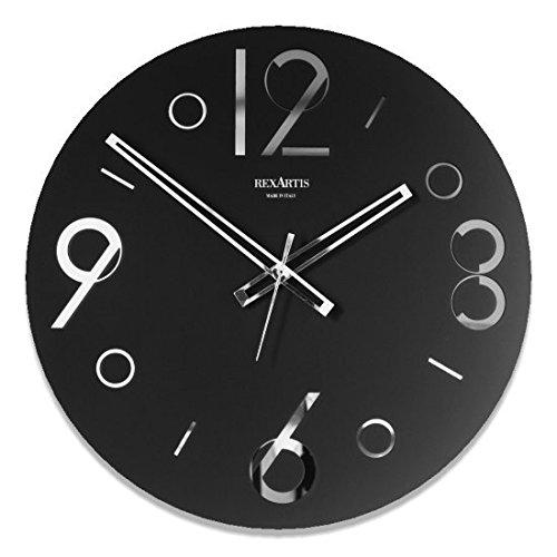REXARTIS(レックスアルティス) ガラス製掛け時計「POINT」 (ブラック) モノトーン B0713YDHDZ ブラック ブラック