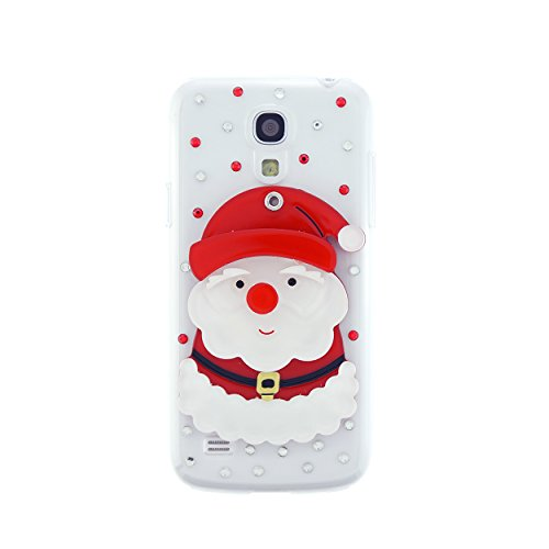CaseBee® 3D Series - Cute 3D Santa Claus w/ Mirror Samsung Galaxy S4 mini i9190 Case - Handmade Bling Bling Rhinestones - Perfect Gift - AT&T, Verizon, Sprint (Package includes Screen Protector)