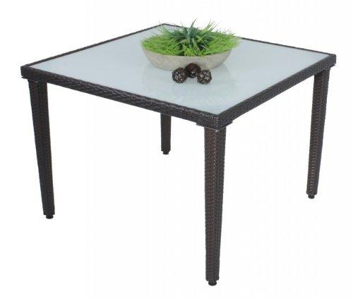 Hochwertiger Gartentisch mit Milchglasplatte, Poly-Rattan, Coffee