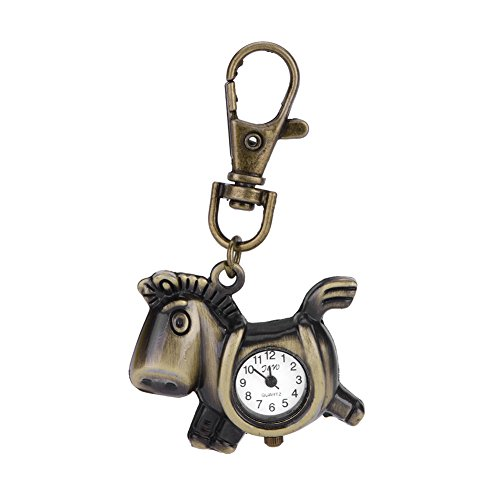 ACE New Fashionable Creative Vintage Pony Bats Quartz Watches Pocket Watch Key Ring Necklace Gift (Bat Pony)