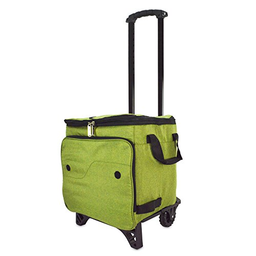 - DALIX Rolling Cooler Thermal Insulated Trolley Bag Sports Leak Proof in Olive Green