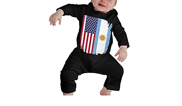 YELTY6F Argentina Football Soccer Flag Printed Baby Bodysuit Long Sleeve Rompers Black