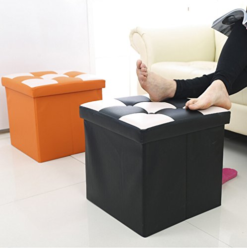 Geartist GOO2 Foldable Leather Organizer Ottoman Storage Cube Stool Seat Foot Rest (15