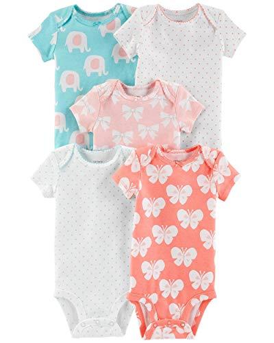 (Carter's Baby Girls' 5-Pack Short-Sleeve Original Bodysuits (Bows/Butterflies/Elephants, 9 Months) )