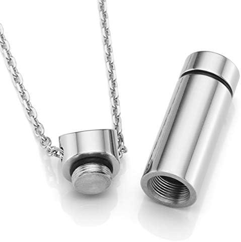 Zysta Collier unisexe en acier avec pendentif ouvrant cadeau pour homme ou femme porte m/édicaments gravure personnalisable cendres