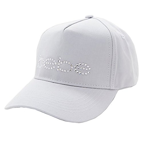 Cotton Swarovski Cap (Bebe Baseball Cap Swarovski Crystals Logo Rhinestone Cotton Light Gray)