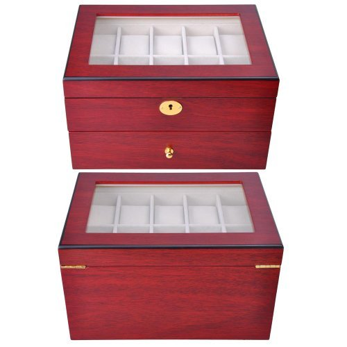 Rosewood Red Matte Stain Wooden Glass Flip Top 20 Watch Double Decks Display Case Jewelry Box Drawer Key