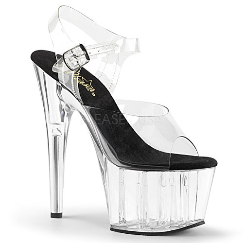Pleaser Women's Adore-708 Ankle-Strap Sandal Clear-Black/Clear ()