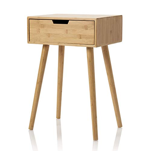 Furniture for Friends Möbelfreude Nachtkonsole Tjark Beistelltisch aus nachhaltigem Bambus mit Schublade und Vier Standfüßen   40 x 30 x 60 cm