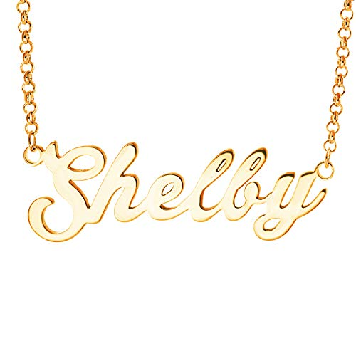 Personalized English Name Necklace Pendant Yellow Gold Plated Over Brass, Gift To Her (Shelby) ()