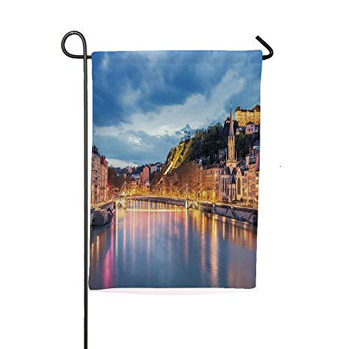 iPrintsophierhome Garden Banner Outdoor Flag Flags,Lyon City at Evening France Blue Hour Historic,Holiday Decorations Outdoor Garden Decoration Digital Printing Flag -