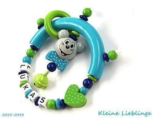 Greifling Greifring Maus Herz mit Namen 3 - 7 Buchstaben Jungen oder Mä dchen - tü rkis grü n dunkelblau hellgrau